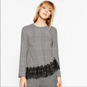Zara Herringbone Blouse Lace Trim XS